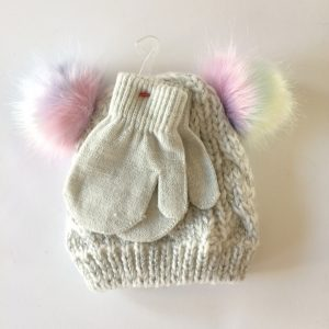 Fleece-lined Knit Cap with Mittens
