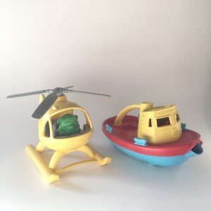 Green Toys Tugboat and Helicopter