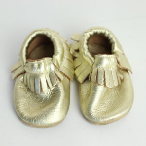 Gold Bird Rock Baby Moccasins Size 5.5