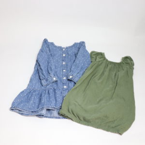 Denim & Olive Dress Set 3T